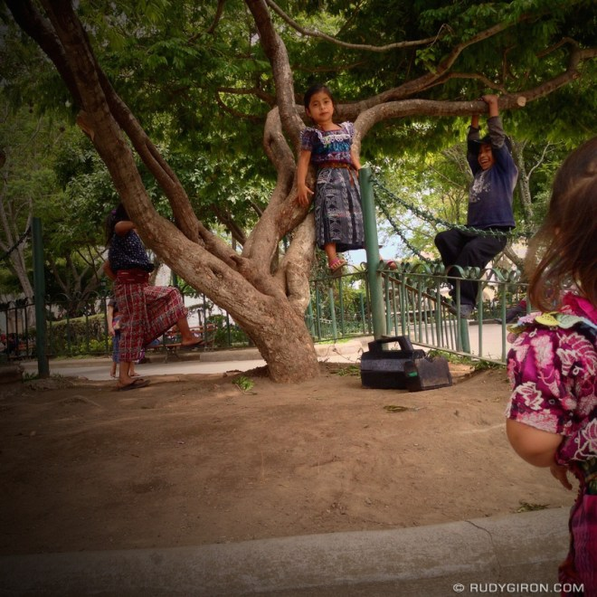 Rudy Giron: AntiguaDailyPhoto.com &emdash; Mayan kids playing at Main Square of Antigua Guatemala