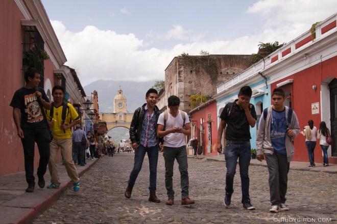 Rudy Giron: Antigua Guatemala &emdash; Typical Weekend Vista at Calle del Arco