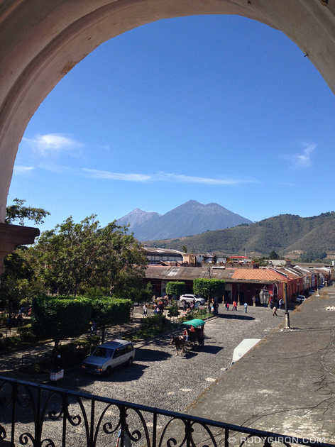 Rudy Giron: Antigua Guatemala &emdash; Framed Fuego and Acatenango Volcanoes
