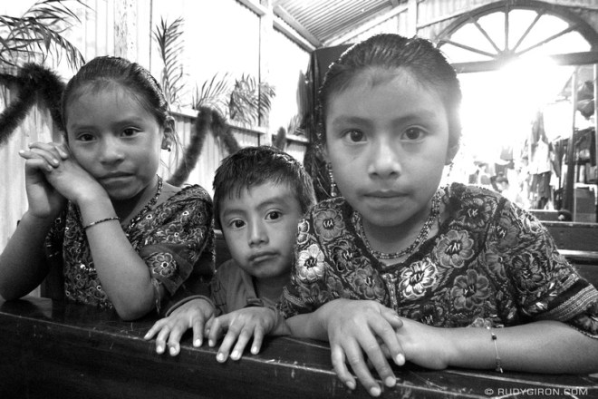 Rudy Giron: Antigua Guatemala &emdash; Three Maya Children at Church