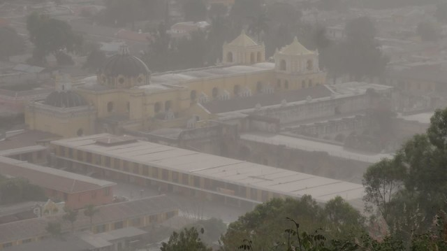 Panoramic picture of Antigua Guatemala under the volcanic ash storm shared by Enrique Schoenstedt on Facebook