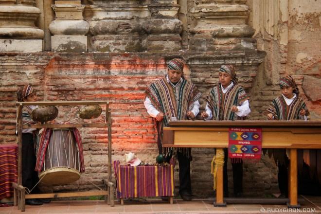 Rudy Giron: Antigua Guatemala &emdash; Father and sons plying marimba music