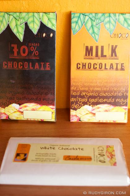Rudy Giron: Antigua Guatemala &emdash; Dark Chocolate, Milk Chocolate and White Chocolate Bars.