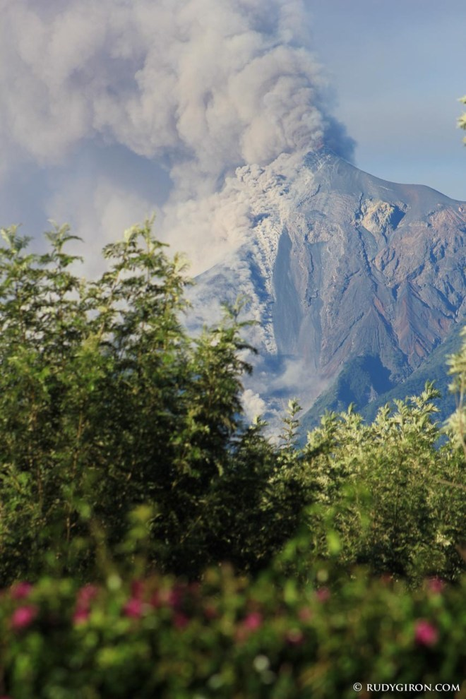 Volcano Fuego's Fumaroles, Pyroclastic Flows and Lava Rivers