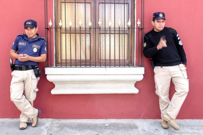 Rudy Giron: Antigua Guatemala &emdash; Guatemalan Police Officers on Patrol on the streets of Antigua Guatemala