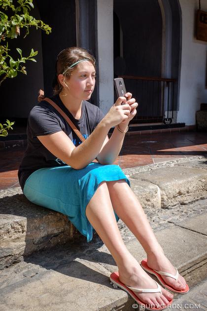 Rudy Giron: Antigua Guatemala &emdash; Mennonite girl grabing some snapshots of her visit to Antigua Guatemala