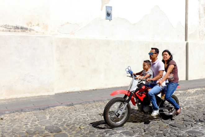 Rudy Giron: Antigua Guatemala &emdash; Motorcycles are the most popular family vehicles in La Antigua