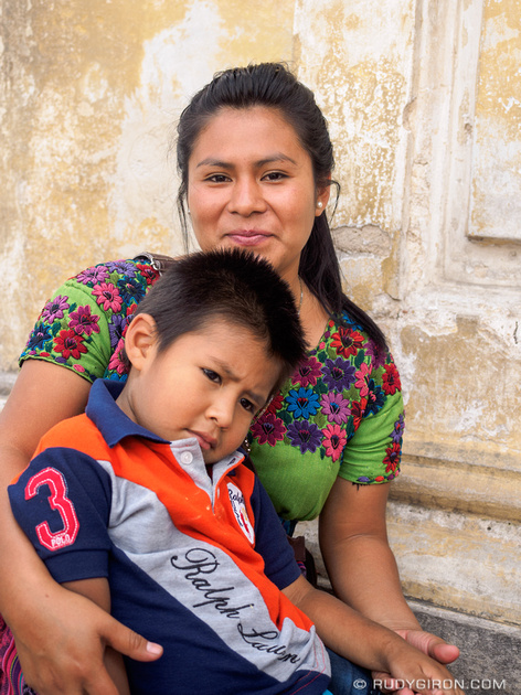 Rudy Giron: Antigua Guatemala &emdash; Maya mother with her son outside a church