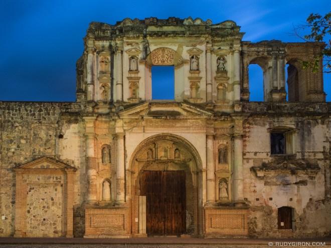 Rudy Giron: Antigua Guatemala &emdash; Ruins of Antiguo Colegio de la Compania de Jesus in Antigua Guatemala at night