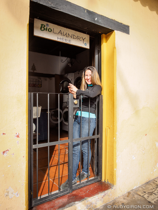 Rudy Giron: Antigua Guatemala &emdash; Happy Guatemalan woman doing laundry