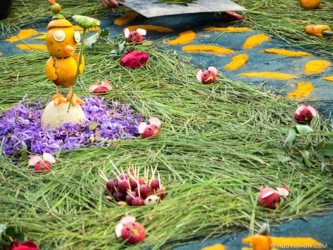 Rudy Giron: Antigua Guatemala &emdash; Processional carpet details, birds and mice, from Antigua Guatemala