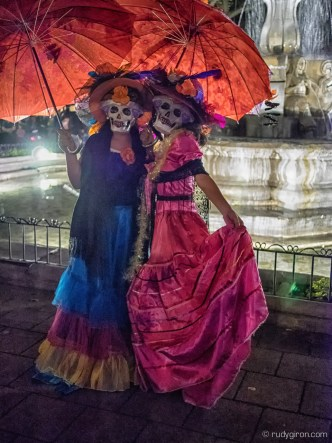 Mexican Catrinas for Halloween celebrations in the Parque Central of Antigua Guatemala by Rudy Giron