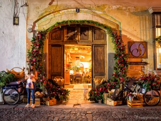 Bakery and Restaurant San Martin's Façade Decorated with Flowers BY RUDY GIRON