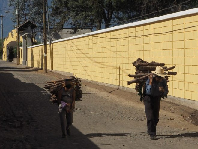 Father and son carrying wood fuel in San Pedro Las Huertas.