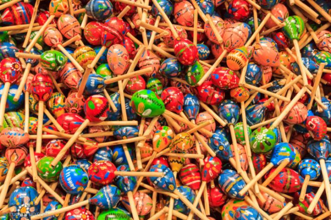 Colorful Guatemalan maracas or chinchines BY RUDY GIRON