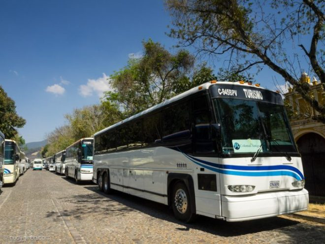 Cruise Ship Passengers buses parked at Alameda El Calvario in Antigua Guatemala BY RUDY GIRON
