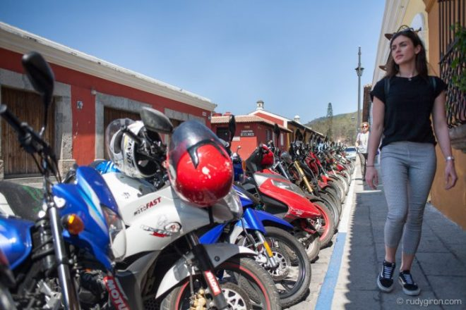 Motorcycle parking area in Antigua Guatemala BY RUDY GIRON