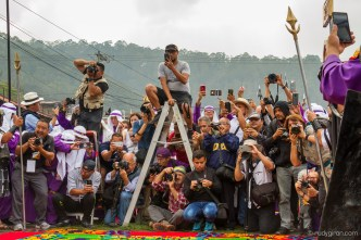Photographers getting ready to capture images of the processions in Antigua Guatemala BY RUDY GIRON