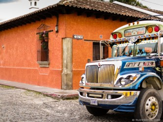 Colorful Bus at Corner Stop in Antigua Guatemala