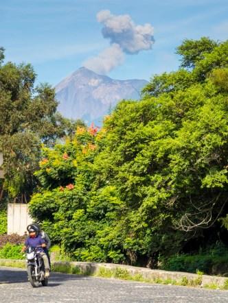 Typical Vista of Volcano Fuego Erupting