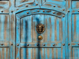 Details of a Blue Door from Antigua Guatemala