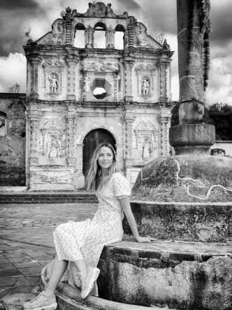 BW Portrait of Vanessa Pilon by the Ruins of Santa Isabel in Antigua Guatemala