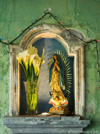 STOCK PHOTO: Effigy of Our Lady of Guadalupe in a niche
