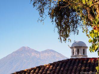 PHOTO STOCK: Sights of Antigua Guatemala - Cupola and Volcano