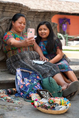 PHOTO STOCK: Mayan Mother and Daughter Doing a Selfie