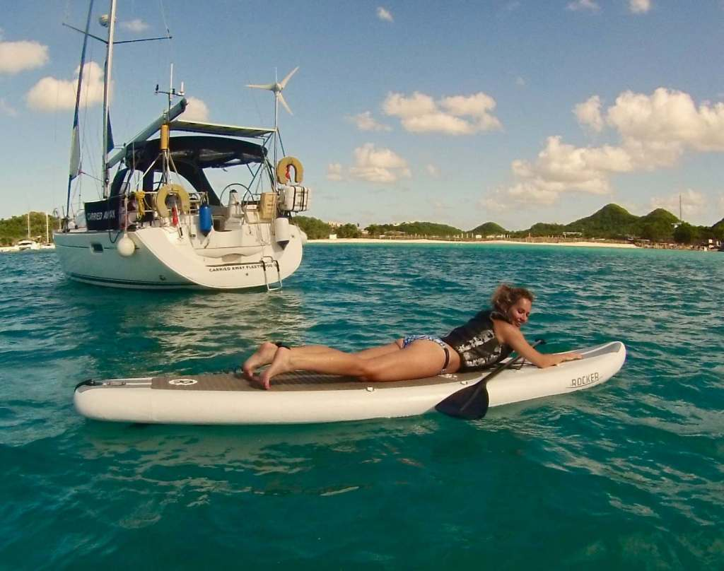 SUP, Private Yacht Charter Antigua island paradise, Carried Away, Boat trips Antigua, Stand up Paddle Boarding