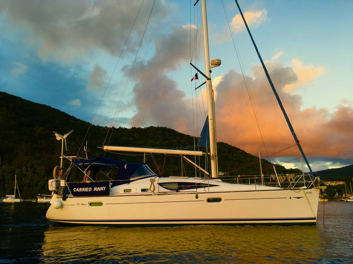 Sunset, our yacht
