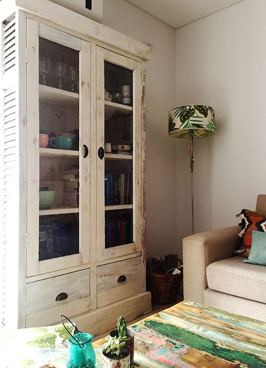 Modular vitrina con celosas y cajones  Antigua Madera