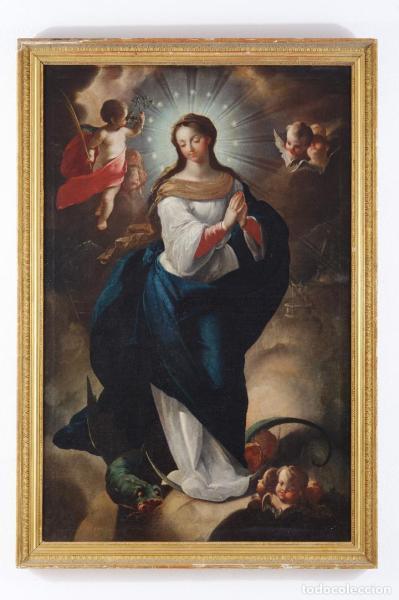 Oleo s/tela Inmaculada S. XVIII. Juan de Miranda, Pintor Canario
