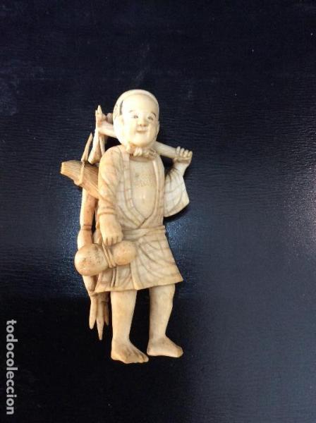 Okimono Japones. Talla de Marfil. s.XIX.
