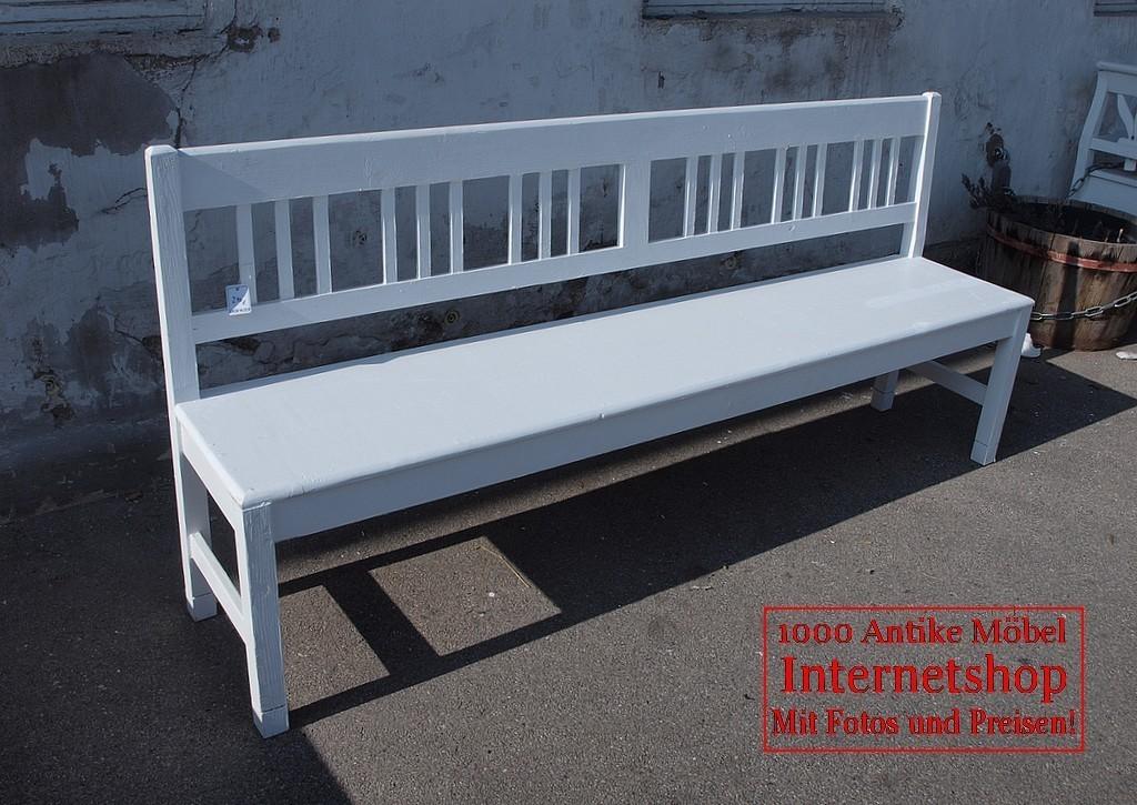 200cm Weiße Shabby Chic Bank Gartenbank Fichte Sitzbank