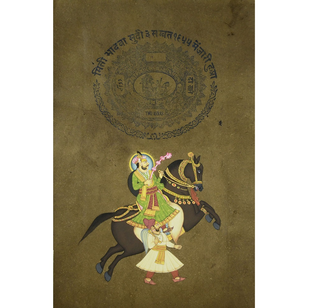 Indian Art Stamp Paper Painting of Mughal King Horse