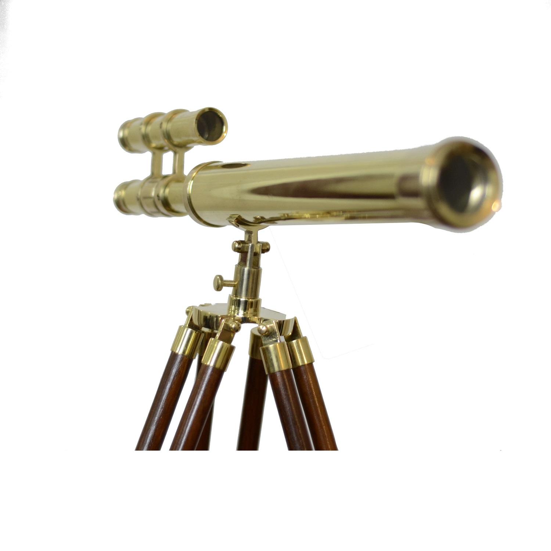 Double Barrel Brass Telescope Wooden Tripod Stand  Antikcart
