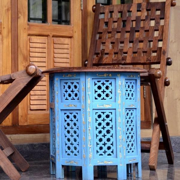 Jali Work Sheesham Wood Handicraft Foldable Side Table