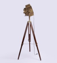 Vintage Wooden Tripod Brass Floor Lamp