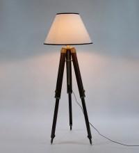 White Wooden Base Tripod Floor Lamp - Antikcart
