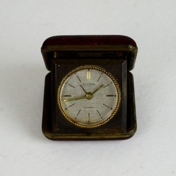 Antique German Europa Mechanical Carry Alarm Clock