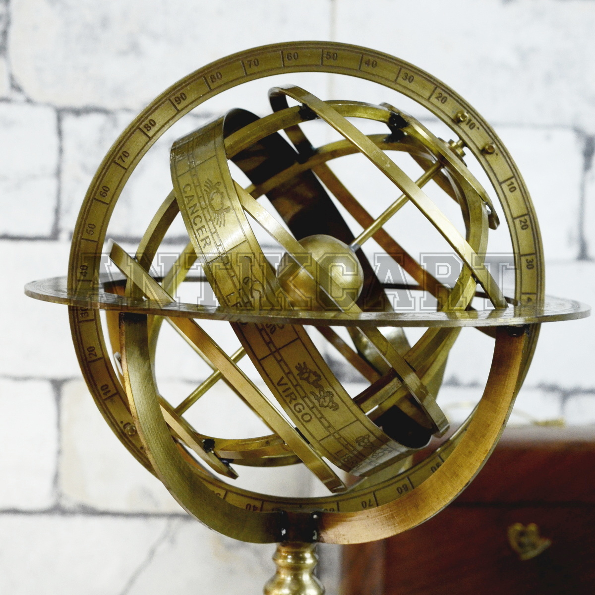 Antique 11 inches Vintage Brass Armillary Sphere  Antikcart
