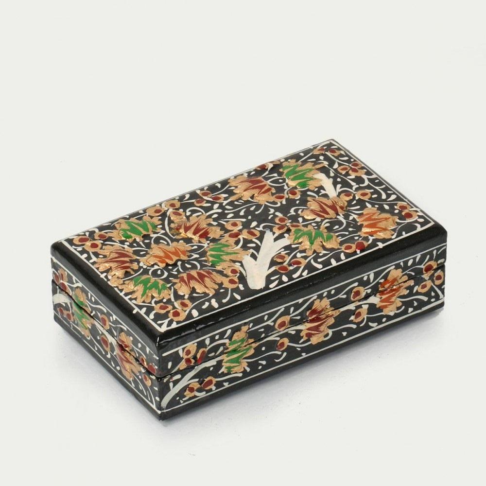 Beautiful Floral Artwork Handmade Papier Mache Box  Antikcart