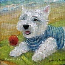 beach_dog_westie_painting_candylei