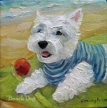 beach_dog_westie_painting_candylei