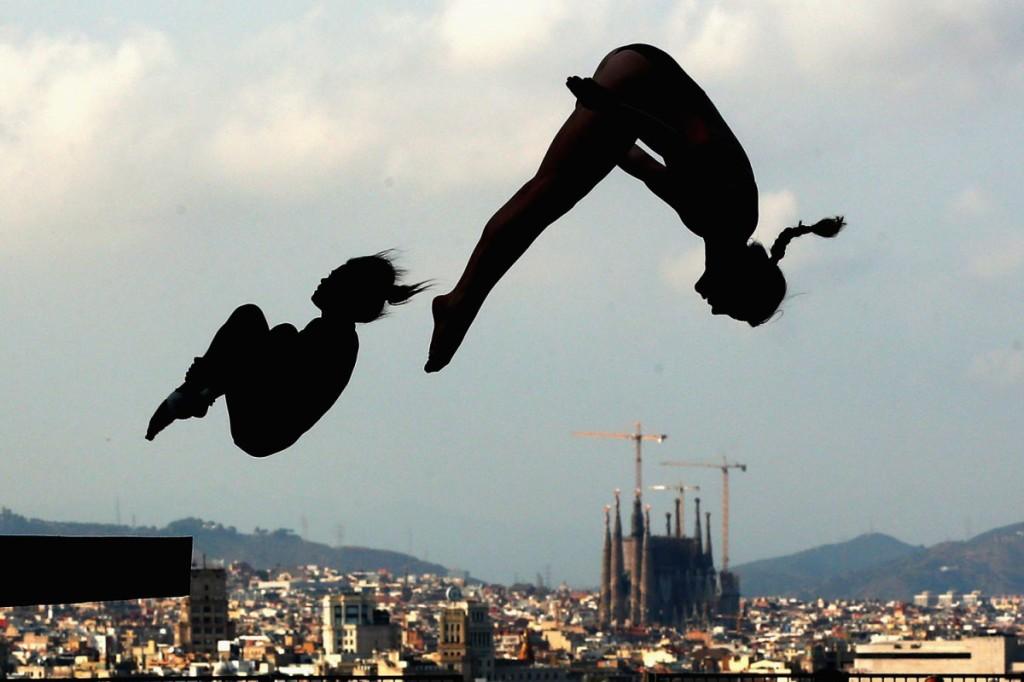 Αθλητές προπονούνται πριν από το Παγκόσμιο Πρωτάθλημα καταδύσεων FINA στη Βαρκελώνη, Ισπανία.