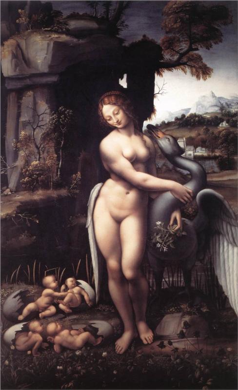 η Λήδα με τον μεταμορφωμένο σε κύκνο Δία  -  Leonardo da Vinci 1510