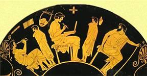 Ερυθρόμορφο αγγείο 5ου αιώνα π.Χ που απεικονίζει μαθητές με τον γραμματιστή, τον κιθαριστή και τον παιδαγωγό (Αρχαιολογικό Μουσείο Βερολίνου)