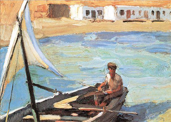 ΝΙΚΟΛΑΟΣ ΛΥΤΡΑΣ, «Βάρκα με πανί (Πάνορμος Τήνου)»,1925, Εθνική Πινακοθήκη Γιος του ζωγράφου Νικηφόρου Λύτρα,ο Νικόλαος Λύτρας επαναστάτησε εναντίον του ακαδημαϊσμού του πατέρα του και των άλλων ζωγράφων της λεγομένης Σχολής του Μονάχου.Ενας από τους σημαντικότερους εκπροσώπους της νεοελληνικής ζωγραφικής και λιγότερο γνωστός διεθνώς από όσο θα έπρεπε,ο Λύτρας ήταν ένας μοναδικός δεξιοτέχνης του χρώματος.