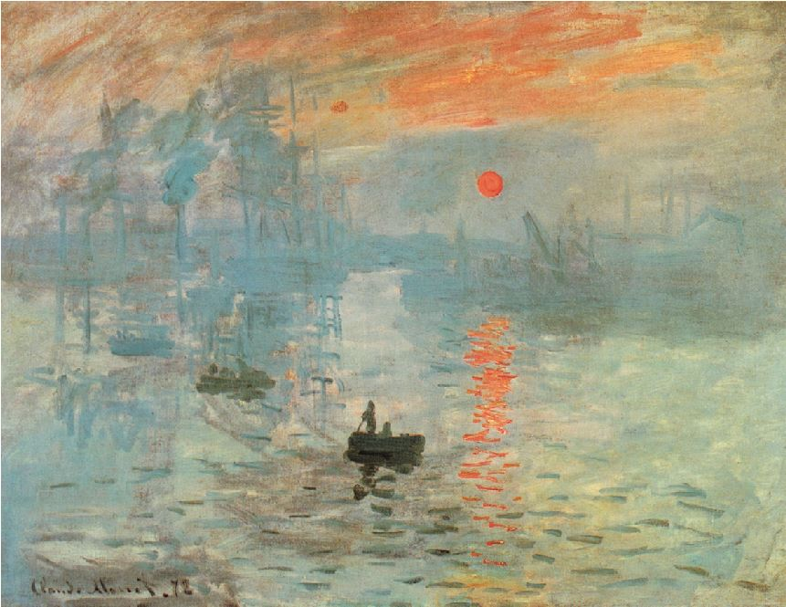 ΚΛΟΝΤ ΜΟΝΕ, «Εντύπωση,Ανατολή»,1897, Μουσείο Μαρμοτάν,Παρίσι (έχει κλαπεί)   Ο μεγαλύτερος δάσκαλος στην απόδοση ατμοσφαιρικών σκηνών, ο Κλοντ Μονέ με αυτόν τον πίνακα λέγεται ότι έδωσε, άθελά του,στον ιμπρεσιονισμό το όνομά του: αυτή η εκδοχή για την προέλευση του όρουμία από τις πολλές- θέλει το όνομα να προέρχεται από το «impresion»,δηλαδή «εντύπωση» στα γαλλικά.